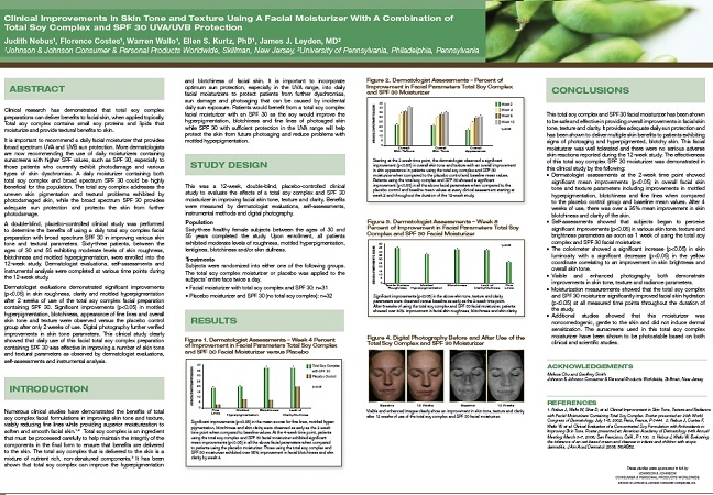 Clinical Improvements in Skin Tone and Texture Using A Facial Moisturizer With A Combination of Total Soy