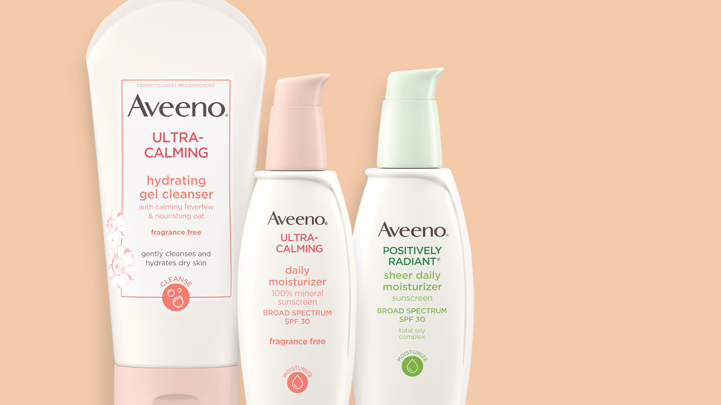 AVEENO® facial care sensitive skin cleansers, sensitive skin moisturizers