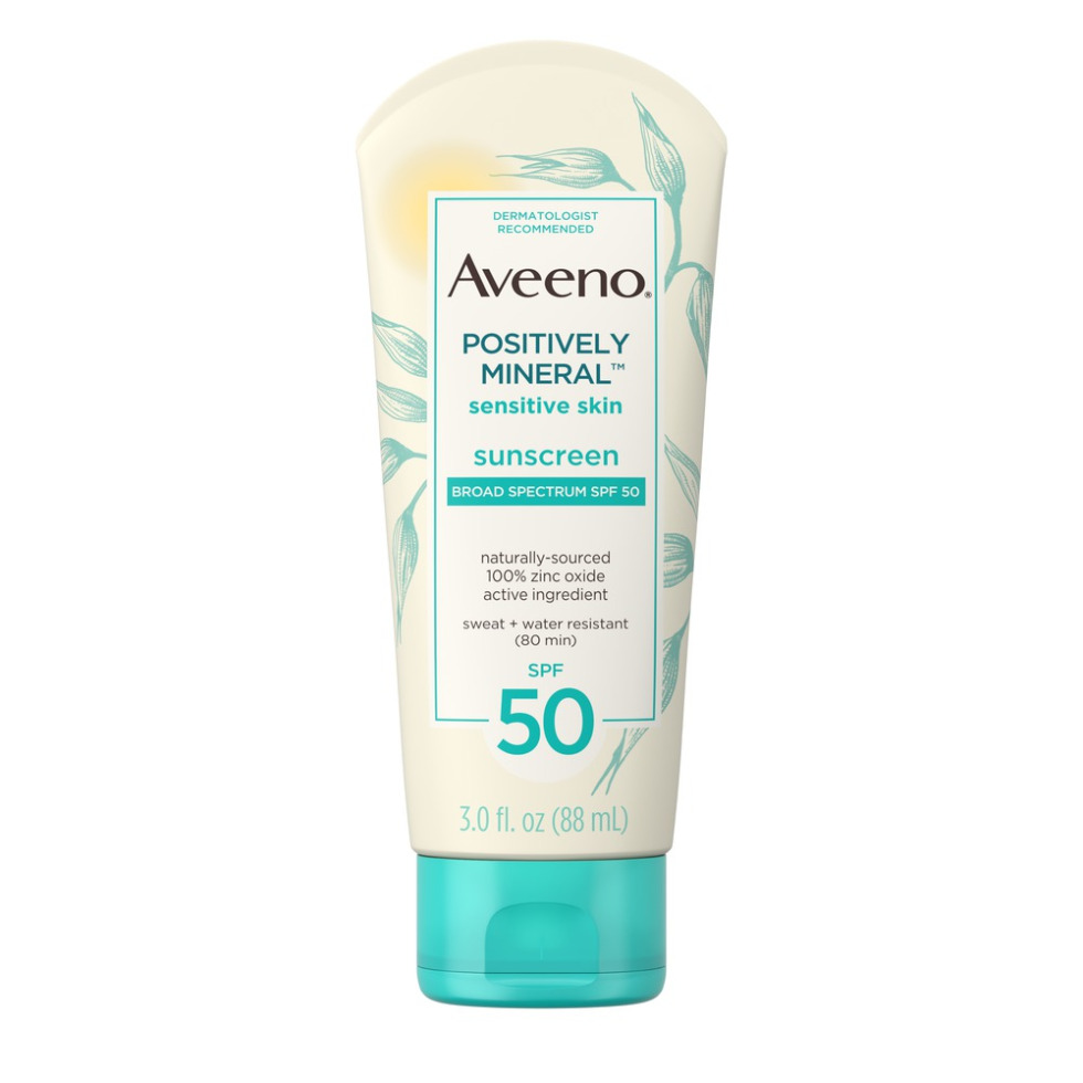 AVEENO® POSITIVELY MINERAL™ Sensitive Skin Sunscreen Broad Spectrum SPF 50 with zinc oxide