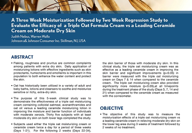 Study to Evaluate the Efficacy of a Triple Oat Formula Cream vs a Leading Ceramide Cream on Moderate Dry Skin