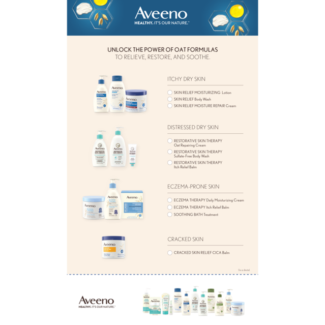 Click this link to download Aveeno Products Recommendation Sheet in PDF format