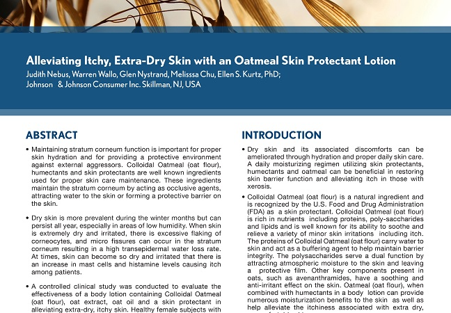 Alleviating Itchy, Extra Dry Skin with An Oatmeal Skin Protectant Lotion