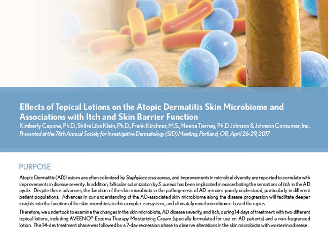 Effects of Lotions on the AD Skin Microbiome